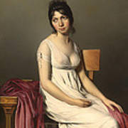Portait Of A Young Woman In White Art Print