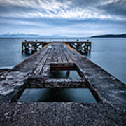 Portencross Pier  And Views To Arran Art Print