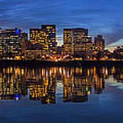 Portland Downtown Skyline At Blue Hour Panorama Art Print