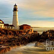 Portland Head Lighthouse At Dawn Art Print