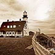 Portland Head Lighthouse In Sepia Art Print