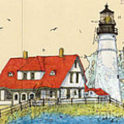 Portland Head Lighthouse Me Nautical Chart Map Art Art Print