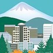 Portland Oregon Vertical Skyline Art Print