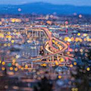 Portland Marquam Freeway With Bokeh Lights Art Print