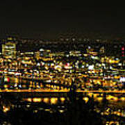Portland Night Skyline Along Willamette River Panorama Art Print