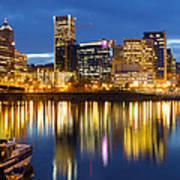 Portland Oregon Downtown Waterfront At Blue Hour Art Print