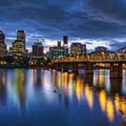 Portland Oregon Waterfront At Blue Hour Art Print