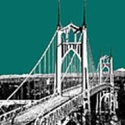 Portland Skyline St. Johns Bridge - Sea Green Art Print
