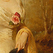 Portrait Of A Lady In A White Dress Art Print