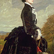 Portrait Of A Lady In Black With A Dog Art Print