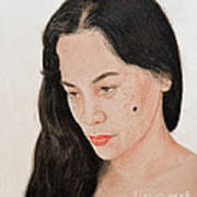 Portrait Of A Long Haired Filipina Beautfy With A Mole On Her Cheek Art Print by Jim Fitzpatrick