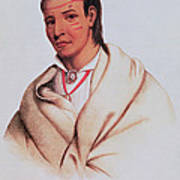 Portrait Of A-mis-quam, A Winnebago Brave Coloured Engraving Art Print