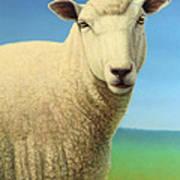Portrait Of A Sheep Art Print by James W Johnson