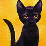 portrait of a small black cat named  LuLu Art Print