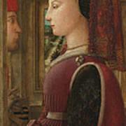 Portrait Of A Woman With A Man At A Casement Art Print
