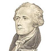 Portrait Of Alexander Hamilton On White Background Art Print