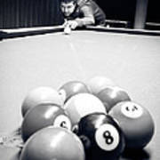 Portrait Of An Awesome Pool Player Art Print