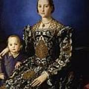 Portrait Of Eleanor Of Toledo With Her Son Giovanni De' Medici Art Print