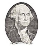 Portrait Of George Washington On White Background Art Print