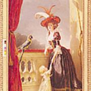 Portrait Of Louise-elisabeth De France 1727-59 Duchess Of Parma And Her Son Ferdinand 1751-1802 Art Print
