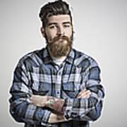 Portrait of man with beard, tattoos & check shirt. Art Print