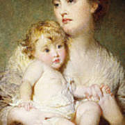 Portrait Of The Duchess Of St Albans With Her Son Art Print