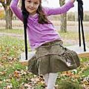 Portrait Of Young Girl On Swing Art Print by Vast Photography