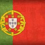 Portugal Flag Vintage Distressed Finish Art Print