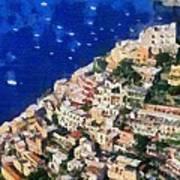 Positano Town In Italy Art Print