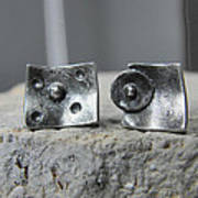 Post Stud Silver Unisex Earrings Art Print