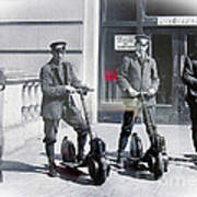 Postal Workers On Scooters Art Print