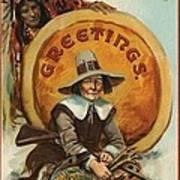 Postcard Of Pilgrim Plucking A Turkey Art Print by American School