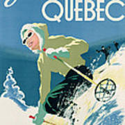 Poster Advertising Skiing Holidays In The Province Of Quebec Art Print by Canadian School