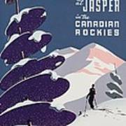 Poster Advertising The Canadian Ski Resort Jasper Art Print