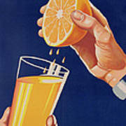 Poster With A Glass Of Orange Juice Art Print