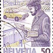 Postman Delivering Mail  Art Print