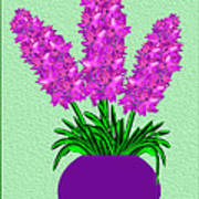 Pot Of Pink Flowers Art Print