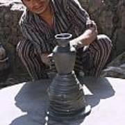 Potter At Work In Bhaktapur Art Print