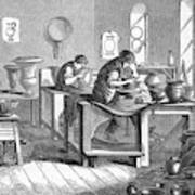Potters Working With The Wheel Art Print