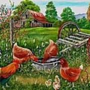 Poultry Peckin Pals Art Print