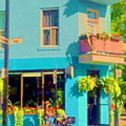 Powder Blue Corner Cafe Elses Pub Rue Roy  Montreal Sunny Summer Cafe Scene Carole Spandau Art Print