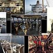 Power Collage Queen Mary Ocean Liner Long Beach Ca 01 Art Print