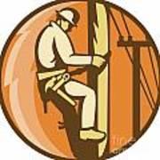 Power Lineman Electrician Climbing Utility Post Art Print