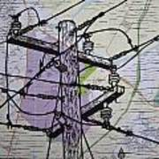 Power Lines On Map Art Print