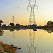 Powerline And Pylons Art Print