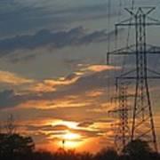 Powerline Sunset Art Print