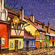 Prague Golden Line Street  Art Print