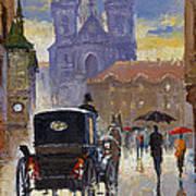 Prague Old Town Square Old Cab Art Print