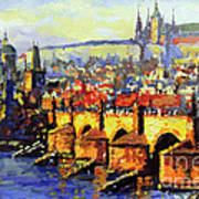 Prague Panorama Charles Bridge Art Print