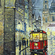 Praha Red Tram Mostecka Str  Art Print by Yuriy  Shevchuk